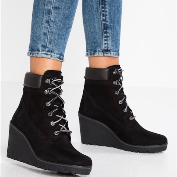 Timberland Ankle Wedge Black Boots